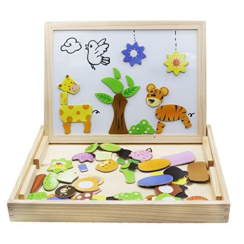 Wooden Toys Magnetic Puzzles Kids Games 109 Pieces Double Side Education Learning for Children