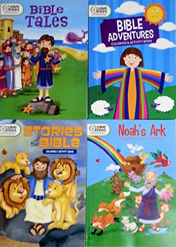 Bible Stories Coloring & Activity Book Set of 4 – Adventures Noah's Ark the and Tales 100% Recycled Paper