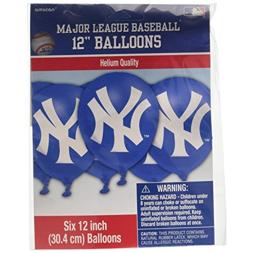 amscan New York Yankees Major League Baseball Collection Printed Latex Balloons Party Decoration 72 Ct