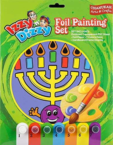 Chanukah Foil Painting Kit – with Outlined PVC Sheet Paper 7 Paint Colors Cardboard Frame Display 8 x 12 Hanukah Arts and Crafts Games by Izzy 'n' Dizzy