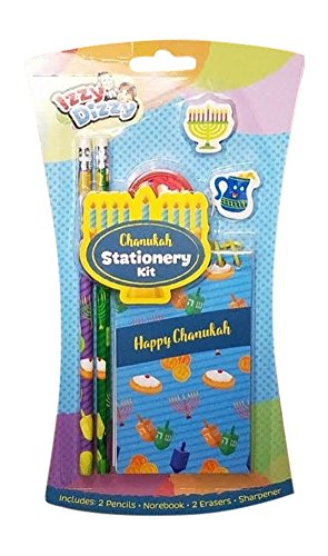Izzy n Dizzy Chanukah Stationary Kit – 2 Pencils Erasers Notebook and Sharpener Hanukah Arts Crafts Gifts Games