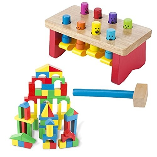 Melissa & Doug Bundle Includes 2 Items Deluxe Pounding Bench Wooden Toy with Mallet Building Blocks Set – 100 in 4 Colors and 9 Shapes