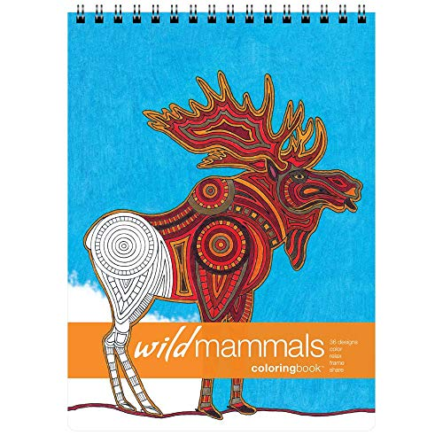 Action Publishing Coloring Book Wild Mammals Tribal Inspired Designs of Big Cats Elephants Primates and More for Stress Relief Relaxation Creativity Large 86 x 1175 inches