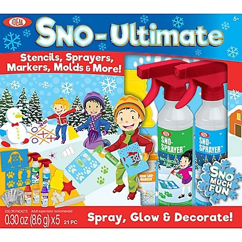 Spray Glow and Decorate Snow Creative Outdoor Play With 21-Piece Sno-Ultimate Kit By Idea Includes Color Sprayers Markers Stencils -Perfect Gift For Kids