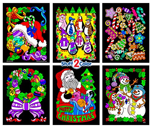 Stuff2Color Pack of 6 Christmas Themed Fuzzy Velvet Posters