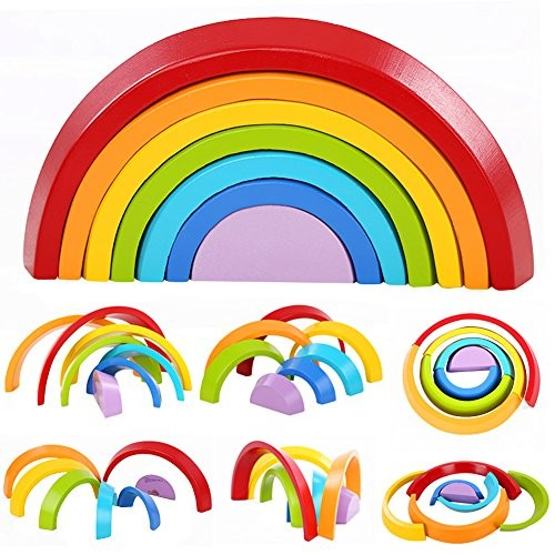 Lewo Wooden Rainbow Stacking Game Learning Toy Geometry Building Blocks Educational Toys for Kids Baby Toddlers Rainbow