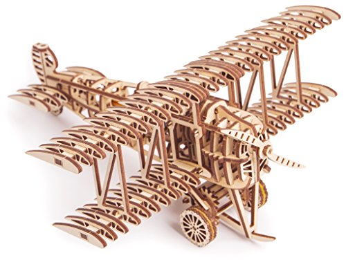 Wood Trick Bi-Plane Toy Kit Wooden Plane – Mechanical Model Mini 3D Puzzle Assembly STEM Toys for Boys and Girls