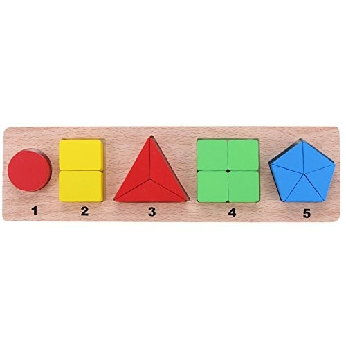 Chinatera Colorful Wooden Building Blocks Geometry Shape Puzzle Toys Kid Early Learn Educational Toy