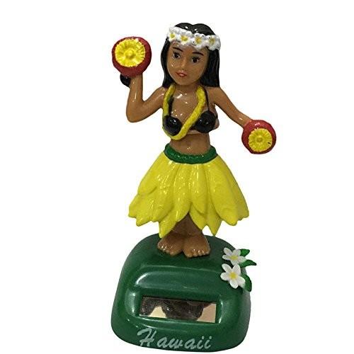 ygmoner Dashboard Fashion Hawaii Girl Car Solar Powered Dancing Animated Bobble Dancer 6 Styles Flower Yellow