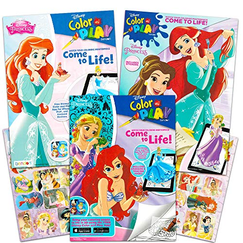 Disney Princess Coloring and Activity Book Super Set — 3 Books with Stickers Party Set Disney Princess