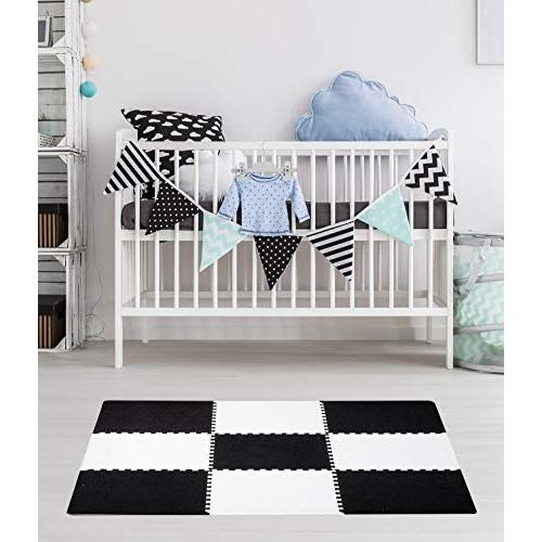 Dooboe Play Mat – Foam for Baby Interlocking Carpet Tiles Black White Anti-Fatigue Non-Toxic Easy to Clean EVA 3 ft x