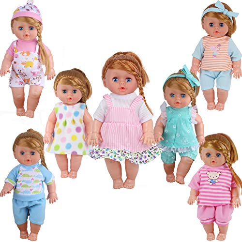 Pack of 7 for 11-12-13 Inch Alive American Doll Baby Clothes Dress Costumes Gown Outfits Princess Birthday xmas Present Wrap Girls