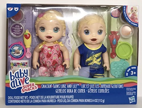 Baby Alive Super Snacks Snackin Twins Lily Girl Doll and Luke Boy Blonde NEW With Accessories
