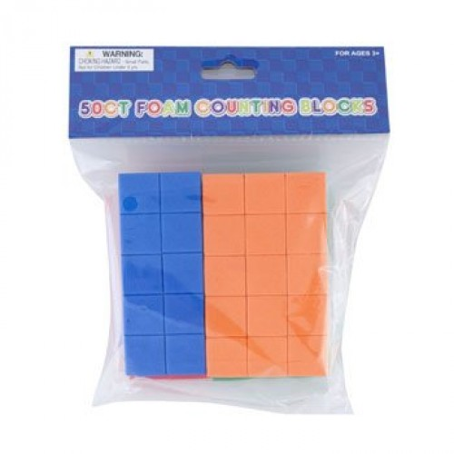 DollarItemDirect Foam Counting Blocks 50 Count Assorted Color 075 inches Case of 24