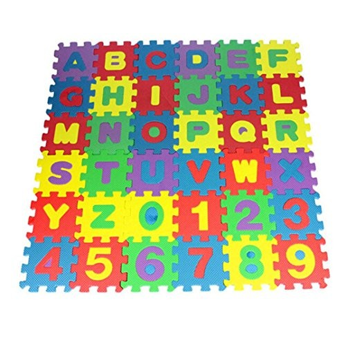 Shybuy Alphabet and Numbers Foam Puzzle Play Mat 36 Tiles Each Tile Measures 12 x cm for a Total Coverage of Square Centimeter Multicolor