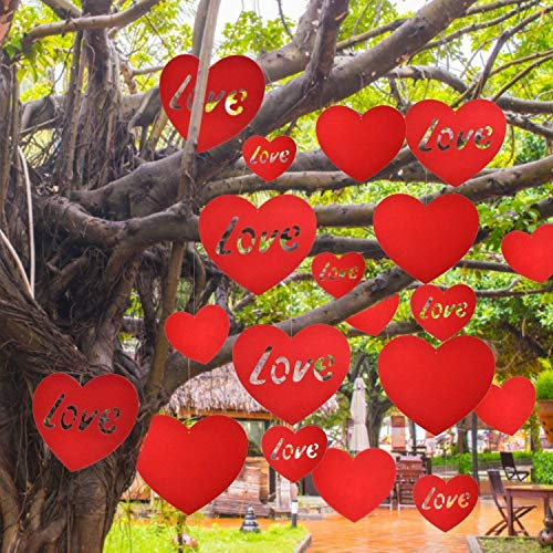 TOODOO 20 Pieces Large Valentine Heart Decoration Valentine's Day Hanging Hearts Lawn for Wedding and Party Decorations 118 Inch 59 Red