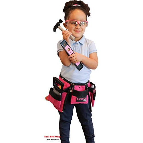 Kids Pink Tool Belt for Girls – Real Children's Pouch That Cute Little Helper Play and Create Construction Projects with Your Child Great Costume Dress Ups