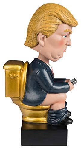 Golden Toilet Donald Trump Bobblehead White Elephant Gag Gift Desk Mantel Piece