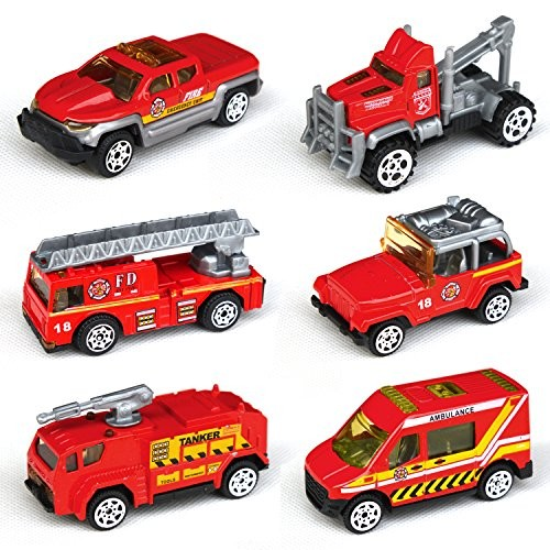 Tianmei 6 Cars in 1 Set Fire Rescue Styling 1:64 Alloy Diecast Vehicle Models