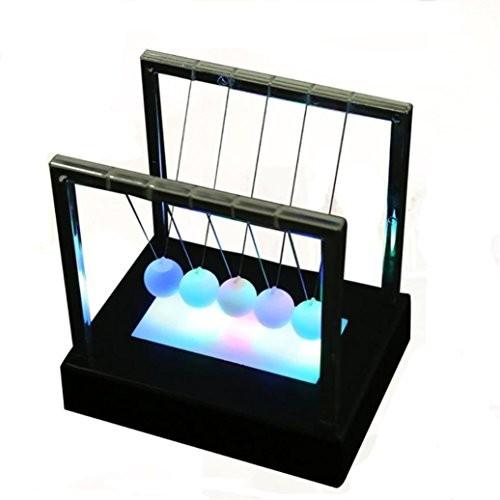 Rambling Newtons Cradle Balance Balls LED Light Up Kinetic Energy Multi Color Home Office Desk Science Toys Decor Art Work Gift BK