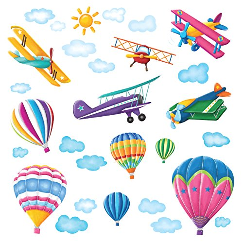 DECOWALL DW-1301 6 Hot Air Balloons and 5 Biplanes in The Sky Kids Wall Stickers Decals Peel Stick Removable for Nursery Bedroom Living Room