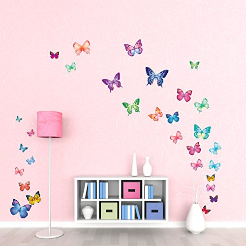 DECOWALL DW-1302 30 Vibrant Butterflies Kids Wall Stickers Decals Peel and Stick Removable for Nursery Bedroom Living Room