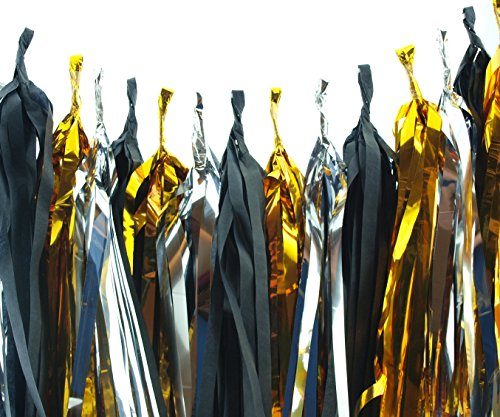 Graduation Garland Decoration Silver Gold & Black Paper Tassels Set of 15 – Party Supplies High School College Grad Banners Decorations Tissue