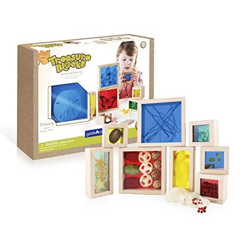 Guidecraft Treasure Blocks – Primary Smooth Wooden Observation Stacking with Transparent Windows Educational Toy for Kids