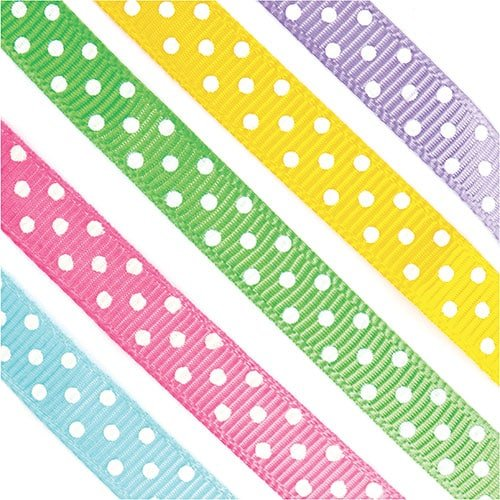 Baker Ross Polka Dot Ribbon for Children to Make Decorate and Display – Creative Craft Supplies Pack of 5
