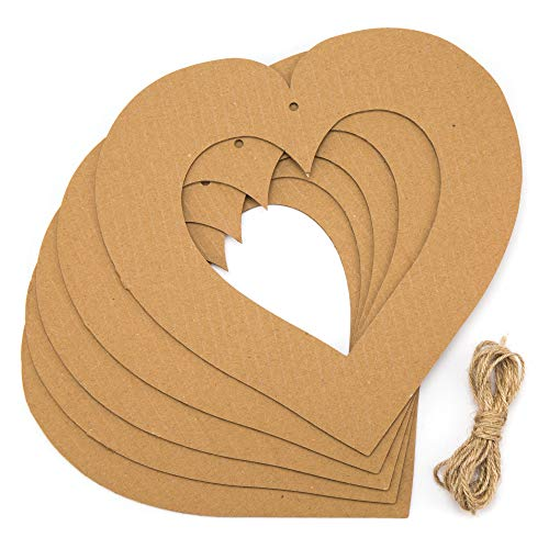Baker Ross Hanging Heart Wreaths Creative Art and Craft Supplies for Kids to Personalise Decorate Pack of 10 22cm White