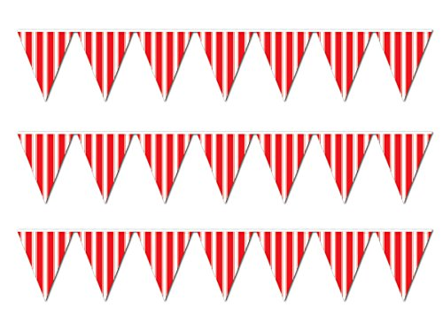 Beistle striped pennant banner Red White