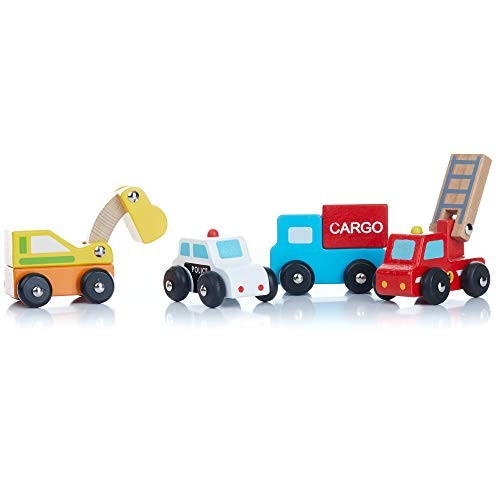 KIDS PREFERRED Carter's Wooden Car Set – 4 Pack – 25 Inches