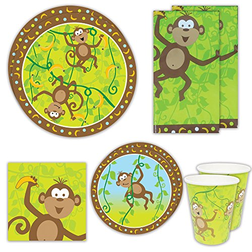 Blue Orchards Monkey Party Deluxe Packs 70+ Pieces for 16 Guests Baby Shower Supplies Jungle Tableware