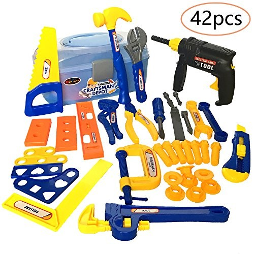 WenToyce 42Pcs Durable Kids Tool Box Set Pretend Role Play Engineering Construction Accessories Handy Worker Repairing Tools Workshop with Electronic Cordless Drill