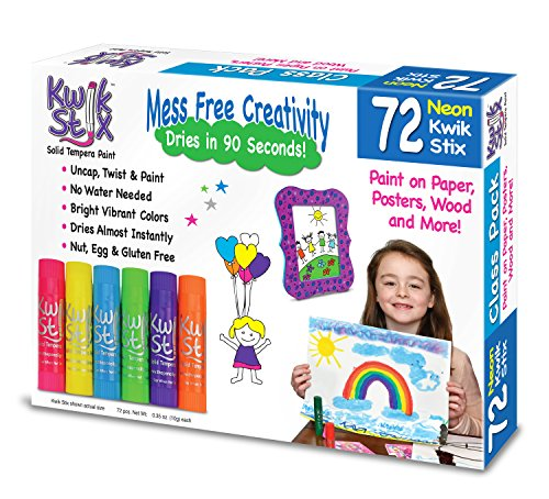 Kwik Stix Fast-Drying Neon Solid Tempera Paint 72 Pack Assorted Colors 35 TPG-626