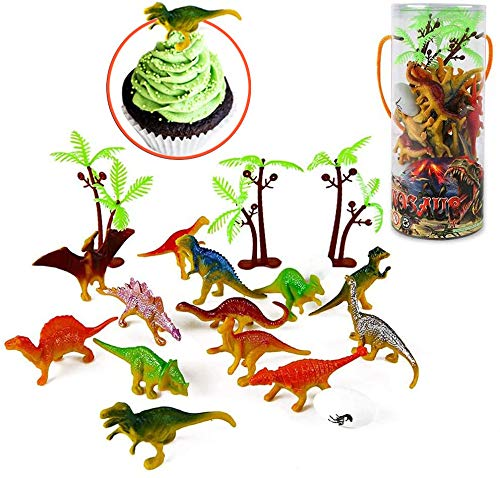 Mini Dinosaur Toy Set 35 Pieces 3 Plastic Assorted Figures as Cake Toppers for Birthday Party Toys Boys and Girls