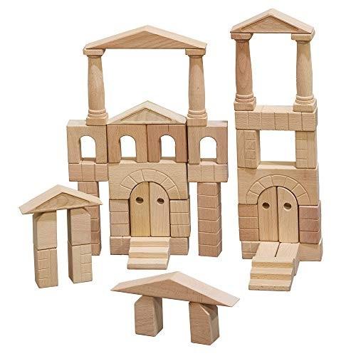 ECR4Kids ELR-19252 Hardwood Architectural Unit Block Play Set with Canvas Carry Case – Educational Wood Building Kit Natural Finish 48-Piece Set