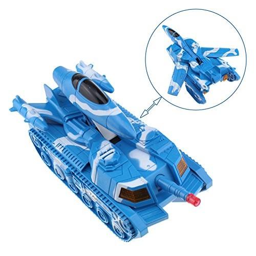 Tipmant Transformer Car Deformation Tank Electric Battle Vehicle Fighter Military Model Toy Kids (Blue)