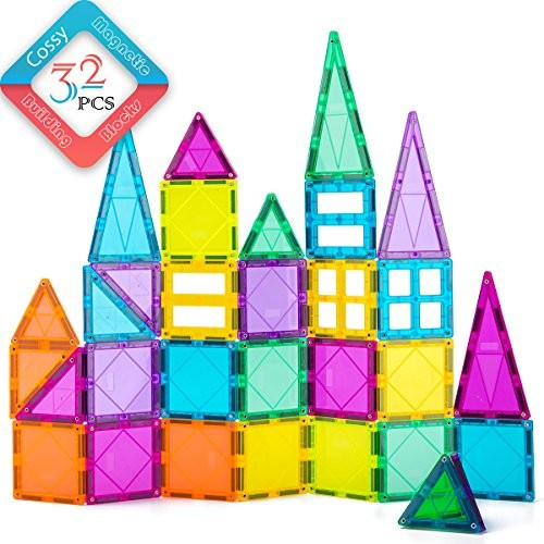 cossy 32Pcs Magnet Tiles Magnetic 3D Building Blocks Set Educational Construction Toys for 3+ Year Kids with Rivets-Fastened Inspirational Recreational Conventional Multicolor