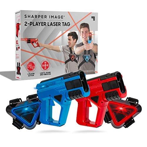 SHARPER IMAGE Two-Player Toy Laser Tag Gun Blaster & Vest Armor Set for Kids