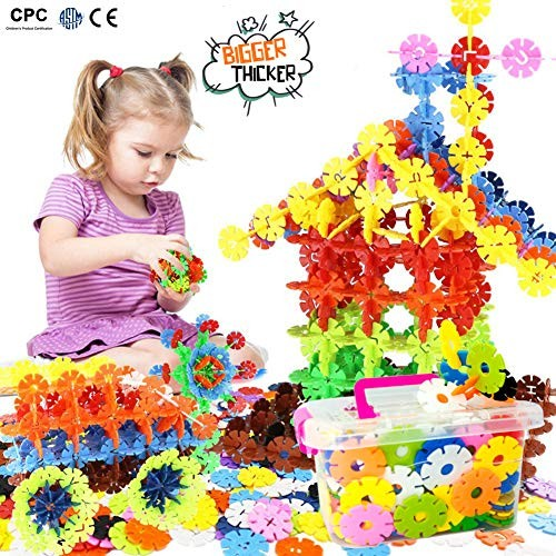 Building Block Toys Snowflakes Diameter Bigger Interlocking Plastic Disc Set A Creative and Educational Construction Toy – Best for 17 Inches 43 Centimeter