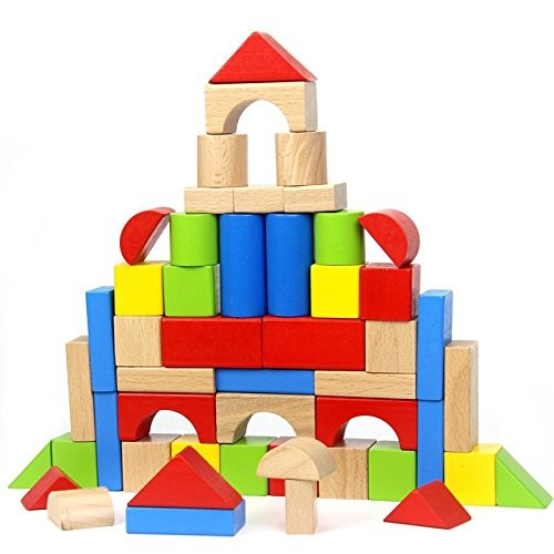 QLL Baby Wooden Blocks Toys 50pcs Multicolored Geometric Assembling Building Block Beech Wood Learning Educational Unisex Toddlers
