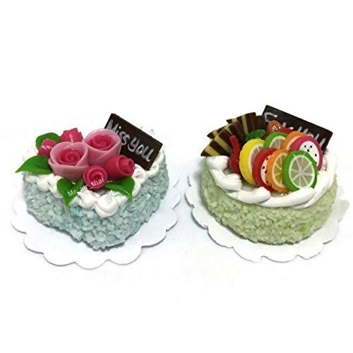 2pc Miniature Wedding Cake Bakery Dollhouse Cake Chocolate Birthday Cake Mini Fruit Food #MF045