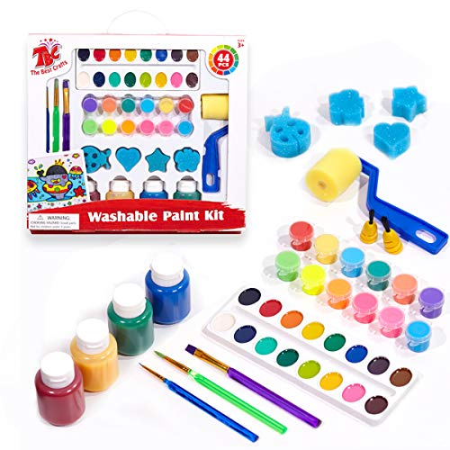 TBC The Best Crafts Washable Paint Set for Kids Acrylic Pots Semi-moist Watercolor Finger Paints Brushes & Sponge Roller Stamps Value Children Early Learning Art Supplies