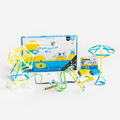 Strawbees Imagination Kit STEM Building Set 400 Pieces and 105 Challenge Cards