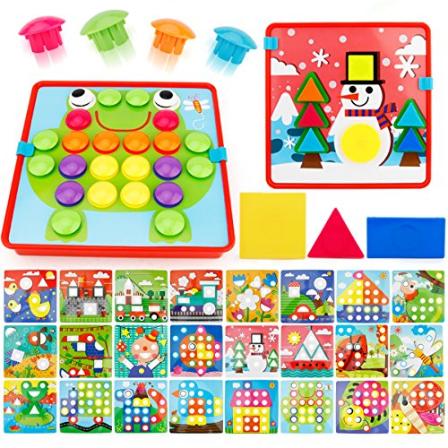 JoyGrow 2 in 1 Button Art Color Matching Mosaic Pegboard Set Toddler Toys & Geometry Shape Cognition Skill Learning Educational for 72 PCS Buttons and 24 templates