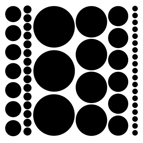 Assorted Size Polka Dot Decals – Repositionable Peel and Stick Circle Wall for Nursery Kids Room Mirrors Doors Black