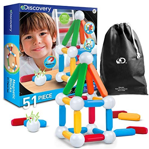 Discovery Kids 51-Piece Magnetic Building Block Set Includes Storage Bag