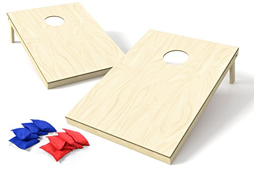 Backyard Champs Corn Hole Outdoor Game 2 Regulation Wood Cornhole Boards and 8 Bean Bags x 3 Foot Natural