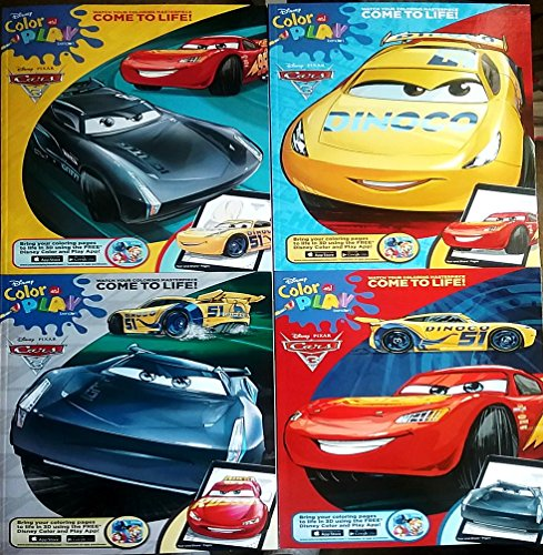 Cars Bundle of 4 Coloring Books Pixar 3 Lightning McQueen – Cruz Ramirez Jackson Storm